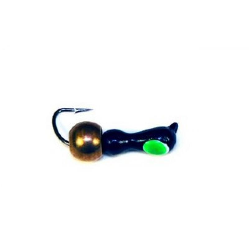 Морм.Ø2,5 Муравей Черн, Зелен Глаз + Шар Латунь Ø3 мм 0,6гр арт.25567 (упак.12шт)