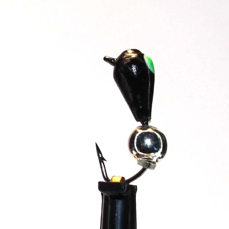 Морм.Ø3 Капля, Зелен Глаз + Шар Гематит Серебро Ø3мм 0,4гр арт.30534 (упак.12шт)