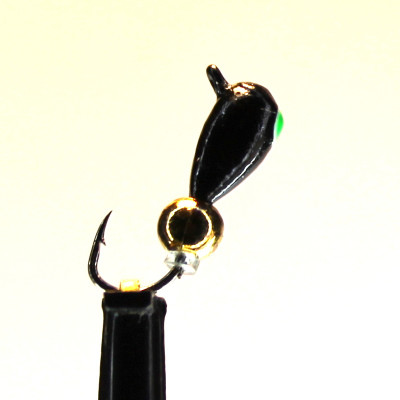 Морм.Ø3 Капля, Зелен Глаз + Шар Гематит Золото Ø3мм 0,8гр арт.30792 (упак.12шт)