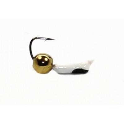 Морм.Ø 1,5 Ст-к Белый,Черн Глаз + Шар Гематит Золото Ø3мм 0,25гр арт.15576 (упак.12шт)