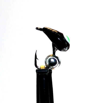 Морм.Ø3 Хрень Черная, Зелен Глаз + Шар Гематит Серебро Ø2мм 0,4гр арт.32004 (упак.12шт)