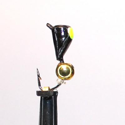 Морм.Ø3 Вошь Черная, Лайм Глаз + Шар Гематит Золото Ø2мм 0,47гр арт.33001 (упак.12шт)