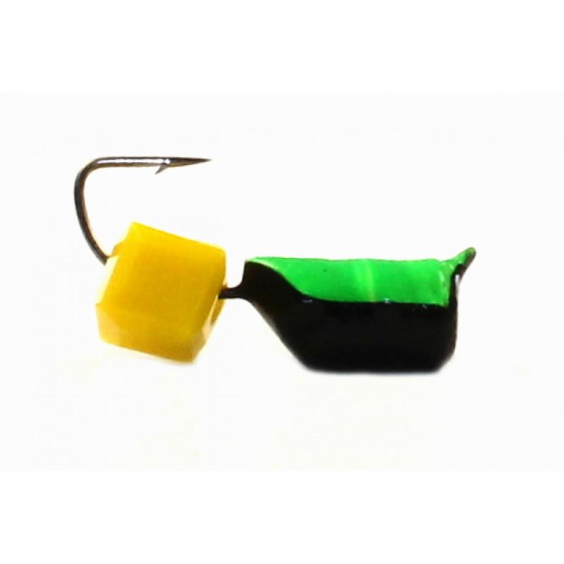 Морм.Ø4 Ст-к Черн, Зелен Брюшко + Куб Гранен Сырный 4*4мм 1,4гр арт.40629 (упак.12шт)