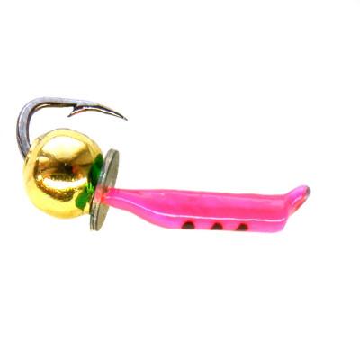 Морм.Ø 1,5 Ст-к Розовый, Черн Полос + Шар Золото 0,3гр арт.15061 (упак.12шт)