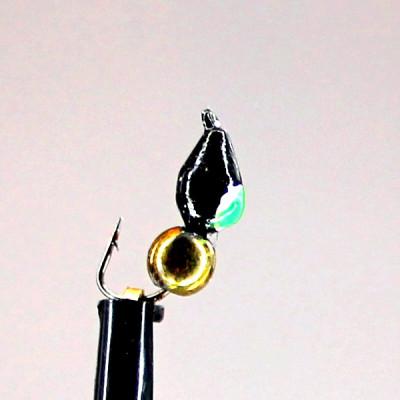Морм.Ø3 Кунжут Черн, Зеленый Глаз + Шар Гематит Хамелеон Ø3мм 0,4гр арт.30138 (упак.12шт)