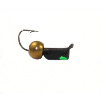 Морм.Ø2,5 Ст-к Черн, Зелен Глаз + Шар Латунь Ø3мм 0,6гр арт.25842 (упак.12шт)