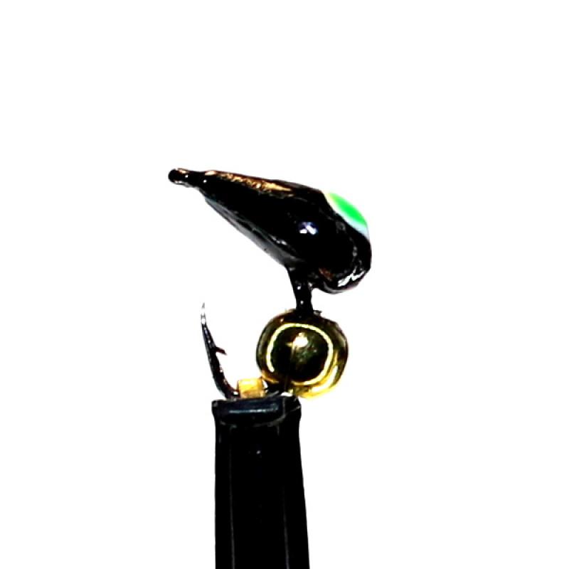 Морм.Ø3 Хрень Черная, Зелен Глаз + Шар Гематит Золото Ø2мм 0,4гр арт.32006 (упак.12шт)