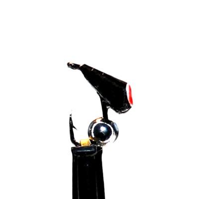 Морм.Ø3 Хрень Черная, Красн Глаз + Шар Гематит Серебро Ø2мм 0,4гр арт.32007 (упак.12шт)