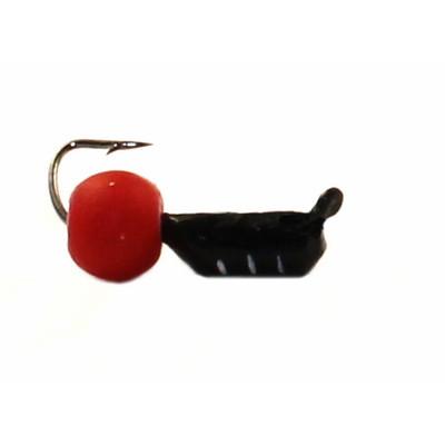Морм.Ø2,5 Ст-к Черн, Белые Полоски + Шар Красный Ø4мм 0,6гр арт.25551 (упак.12шт)