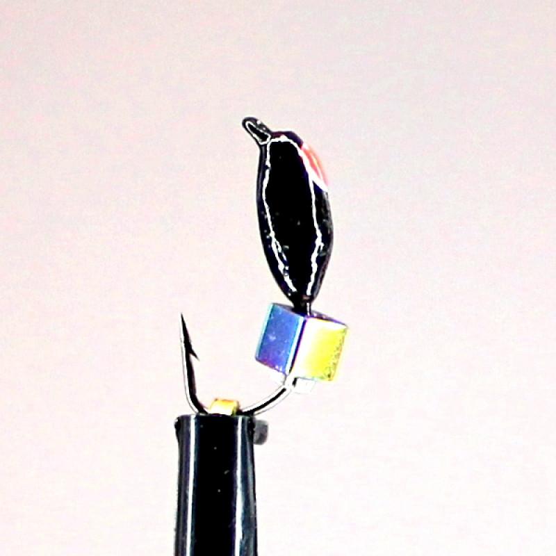 Морм.Ø2,5 Нимфа, Красн Глаз + Куб Гематит Хамелеон 2*2мм 0,5гр арт.25541 (упак.12шт)