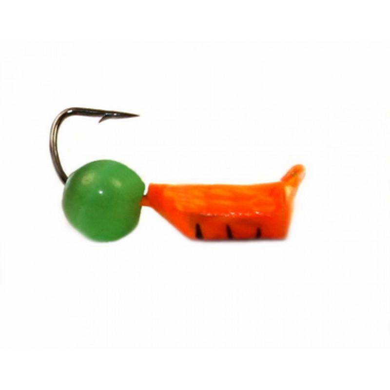 Морм.Ø2,5 Ст-к Оранж, Черн Полоски + Шар Кошачий Глаз Ø4мм 0,7гр арт.25474 (упак.12шт)