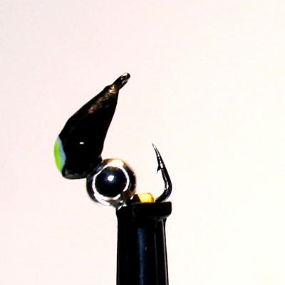 Морм.Ø3 Хрень Черная, Лайм Глаз + Шар Гематит Серебро Ø2мм 0,48гр арт.32002 (упак.12шт)