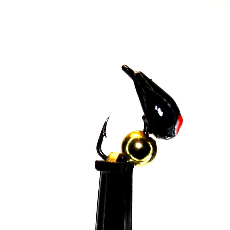 Морм.Ø3 Хрень Черная, Красн Глаз + Шар Гематит Золото Ø2мм 0,4гр арт.32005 (упак.12шт)
