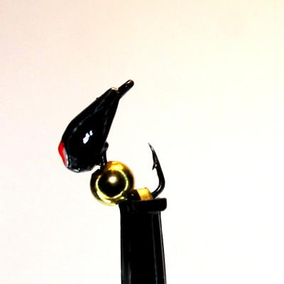 Морм.Ø3 Хрень Черная, Красный Глаз + Шар Гематит Золото Ø2мм 0,4гр арт.32005 (упак.12шт)