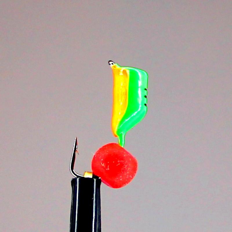 Морм.Ø3 Ст-к Зелен, Оранж Брюшко + Шар Красный Ø5мм 0,8гр арт.30635 (упак.12шт)