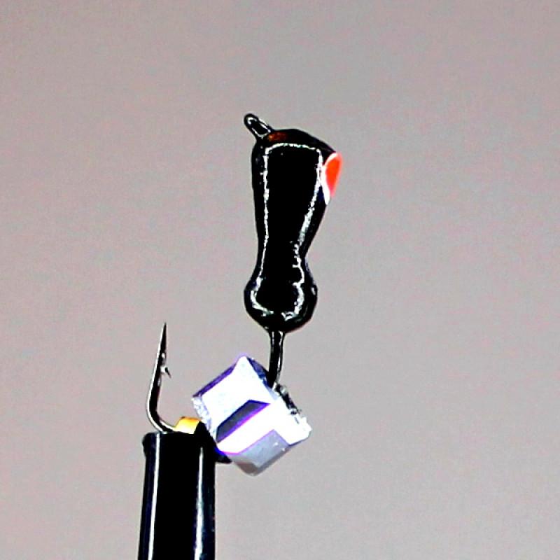 Морм.Ø3 Муравей Черн, Красный Глаз + Куб Гранен Гематит Серебро 3*3мм 0,85гр арт.30718 (упак.12шт)