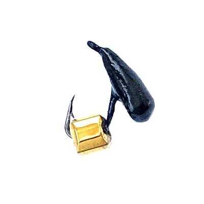 Морм.Ø2,5 Хрень Черная + Куб Гранен Гематит Золото 2*2мм 0,3гр арт.25501 (упак.12шт)
