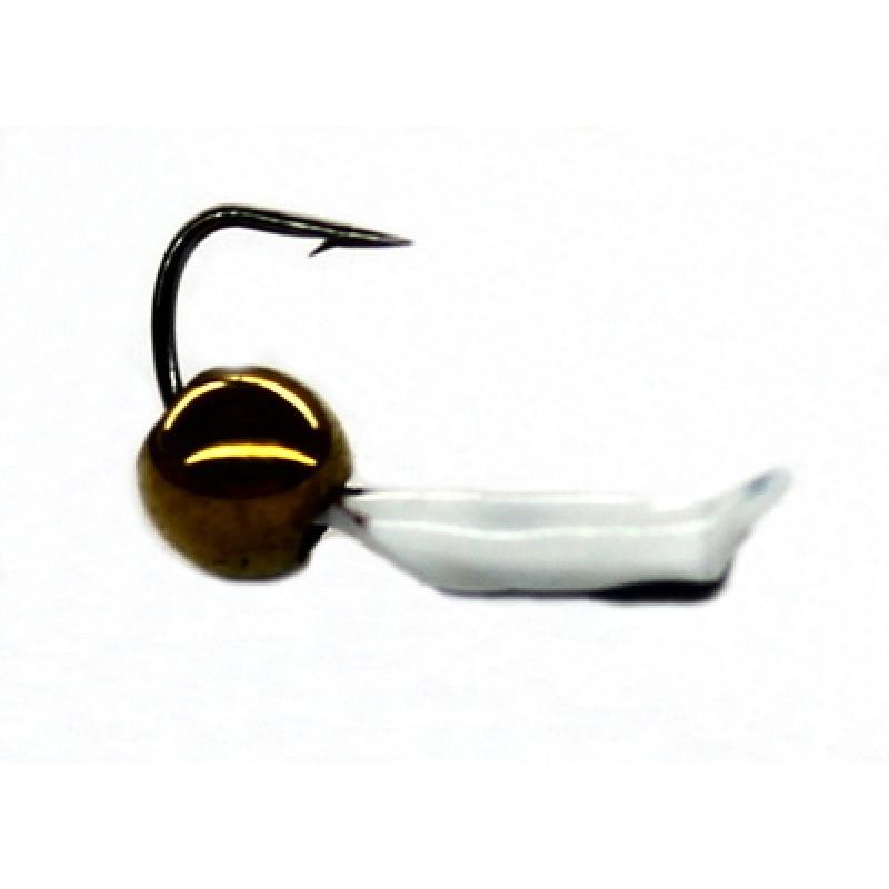 Морм.Ø2 Ст-к Белый, Черн Глаз + Куб Гематит Золото 2*2мм 0,35гр арт.20300 (упак.12шт)