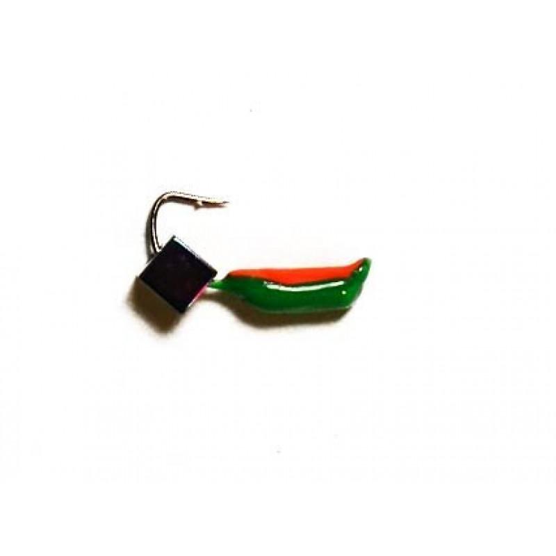 Морм.Ø2,5 Ст-к Зелен, Красн Брюшко + Куб Гематит Хамелеон 3*3мм 0,45гр арт.25862 (упак.12шт)