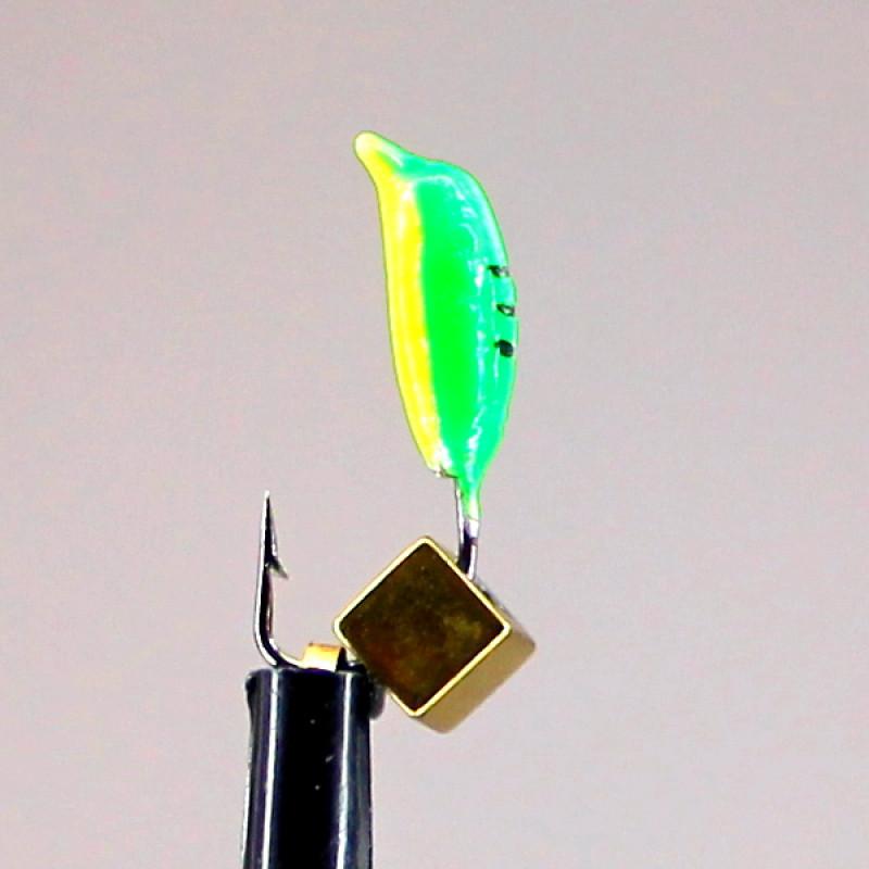 Морм.Ø3 Нимфа Зелен, Черн Полоски + Куб Гематит Золото 3*3мм 0,7гр арт.30018 (упак.12шт)