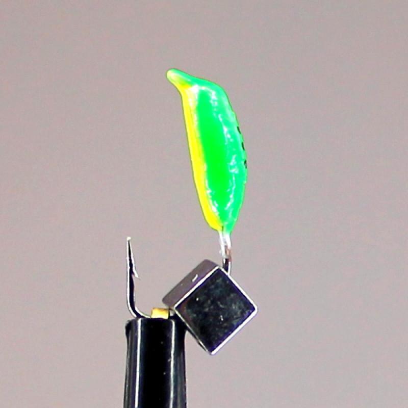 Морм.Ø3 Нимфа Зелен, Лайм Брюшко + Куб Гематит Серебро 3*3мм 0,7гр арт.30995 (упак.12шт)