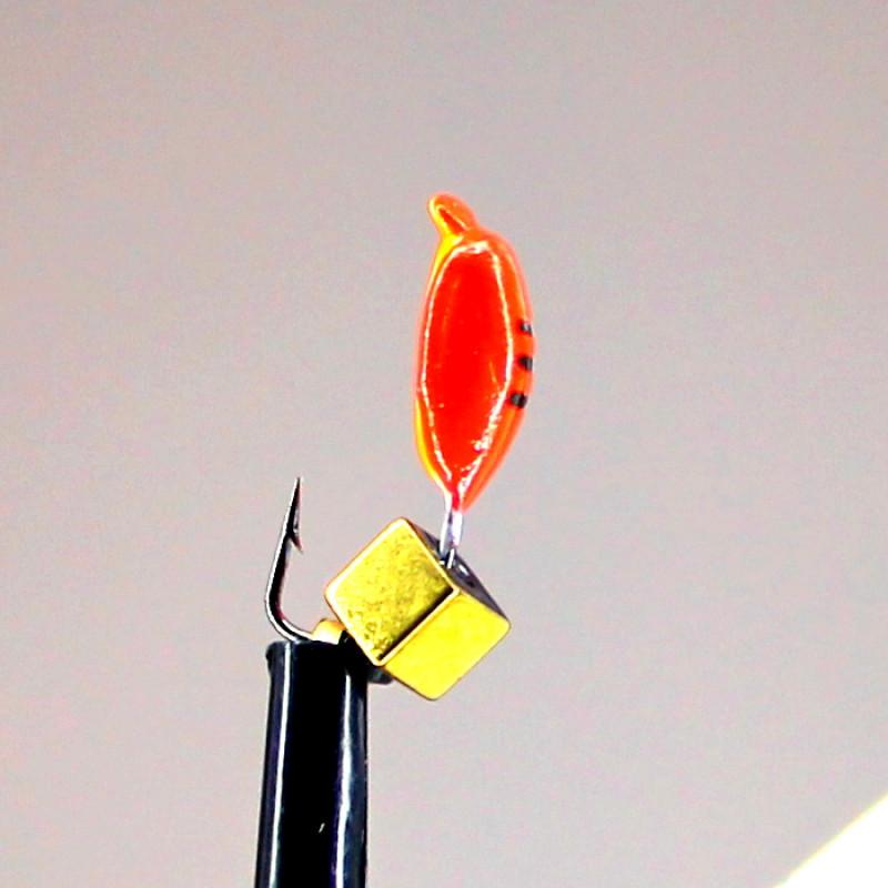 Морм.Ø3 Нимфа Красная, Черные Полоски + Куб Гематит Золото 3*3мм 0,6гр арт.30998 (упак.12шт)