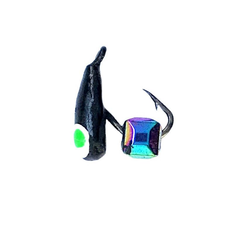 Морм.Ø2,5 Хрень Черная, Зелен Глаз + Куб Гранен Гематит Хамелеон 2*2мм 0,3гр арт.25502 (упак.12шт)