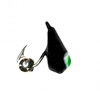 Морм.Ø4 Хрень Черная, Зелен Глаз + Шар Гематит Серебро Ø2мм 0,68гр арт.42008 (упак.12шт)