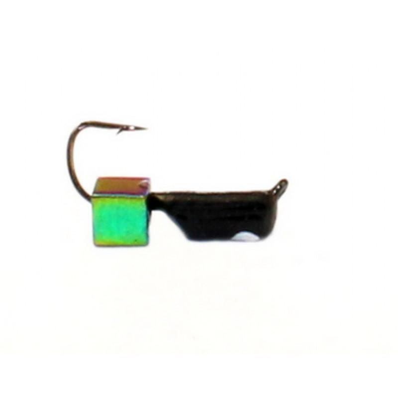 Морм.Ø2,5 Ст-к Черн, Белый Глаз + Куб Гематит Хамелеон 3*3мм 0,6гр арт.25909 (упак,12шт)