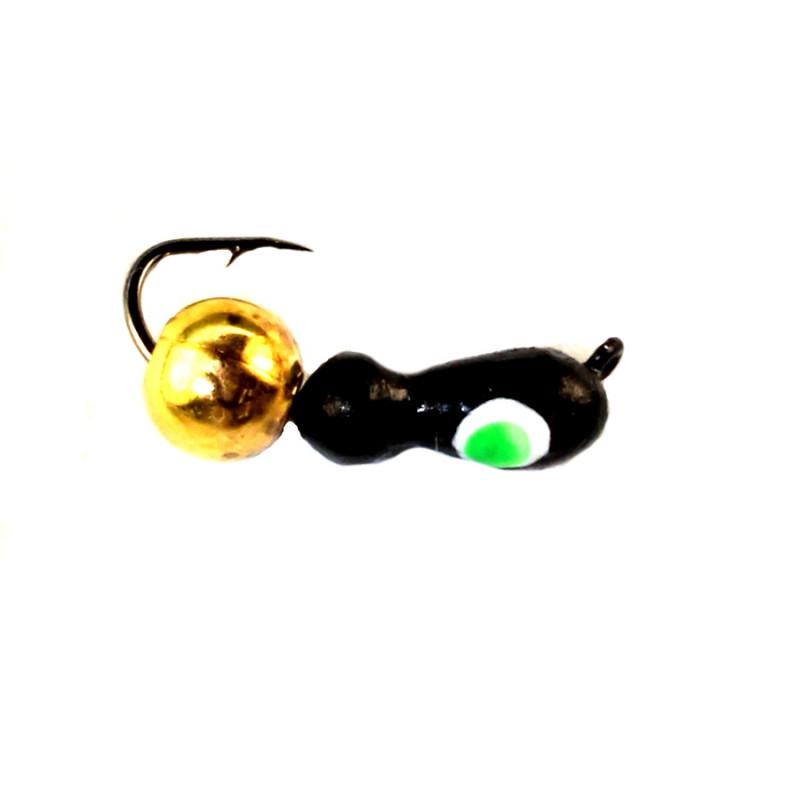 Морм.Ø3 Муравей Черн, Зеленый Глаз + Шар Гематит Золото Ø4мм 0,9гр арт.30102 (упак.12шт)